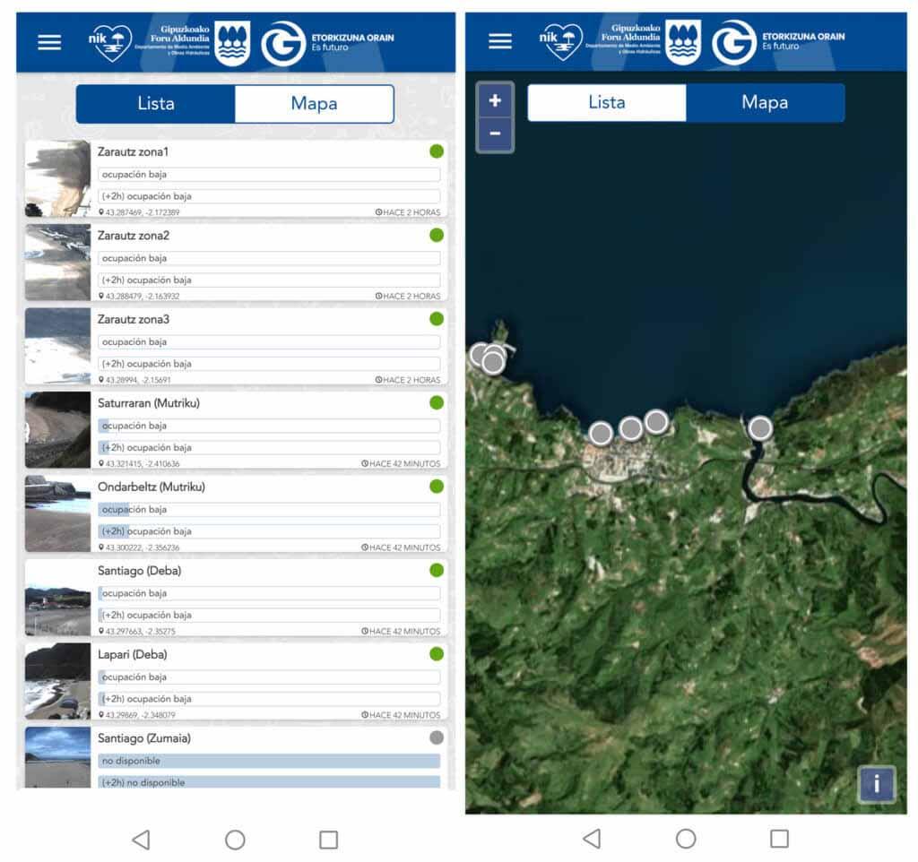 Nik Hondartzak app sobre el nivel de ocupacion de las playas en tiempo real
